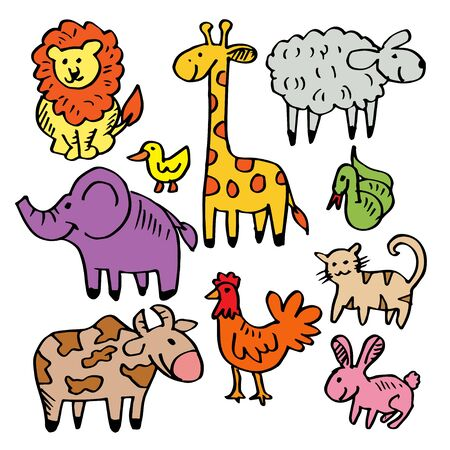 Cartoon doodle animals. Vector illustration. 일러스트