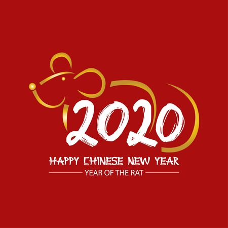 2020 Chinese New Year greeting card with numbers and rat