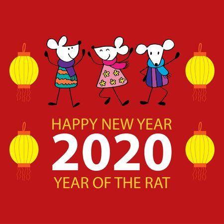 Happy rats , symbol of 2020 year. Greeting card. 일러스트