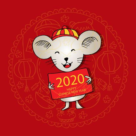 Happy Chinese new year 2020 greeting card 일러스트