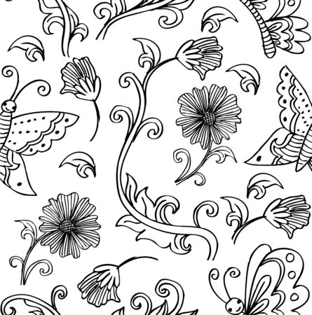 Seamless floral pattern with flowers and butterflies 向量圖像