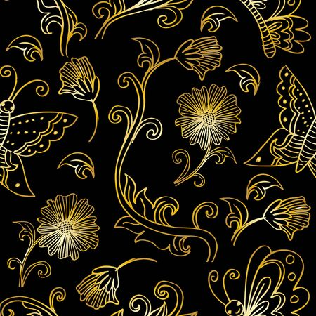 Seamless floral pattern with flowers and butterflies Illustration