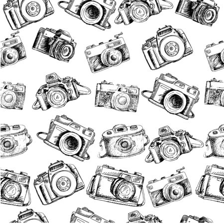 Hand drawing  camera seamless pattern Illustration