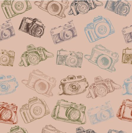 Hand drawing  camera seamless pattern 版權商用圖片 - 136668133