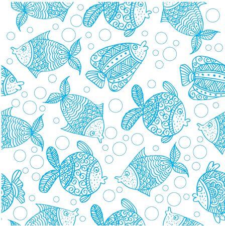 Decorative fish seamless  pattern background.