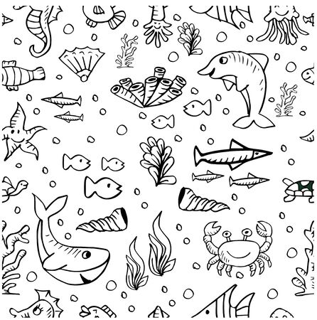 Marine life, seamless pattern