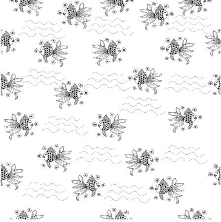 Black and white goldfish seamless pattern Illustration