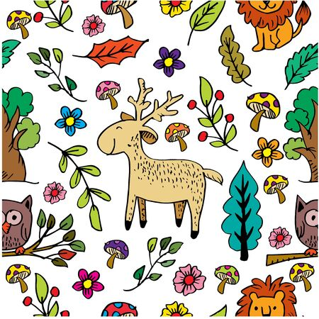 Funny kids background with forest life