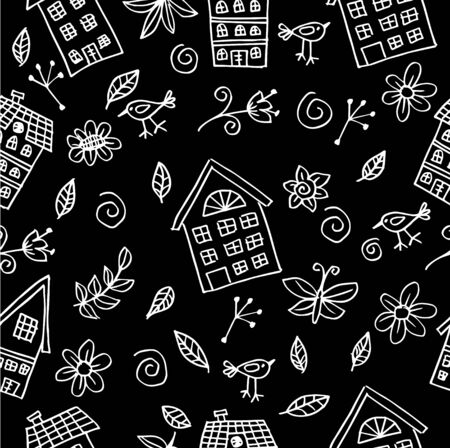 Seamless pattern hand drawn funny house