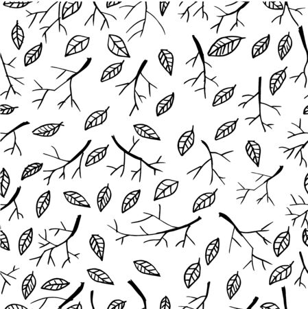 Seamless pattern with dry twigs and leaves 版權商用圖片 - 136668152