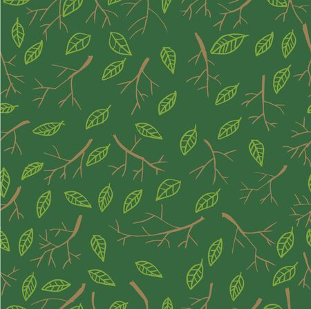 Seamless pattern with dry twigs and leaves