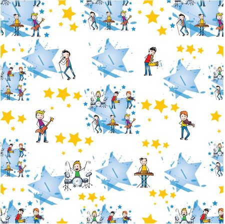 Seamless pattern boys playing music. 版權商用圖片 - 136668156