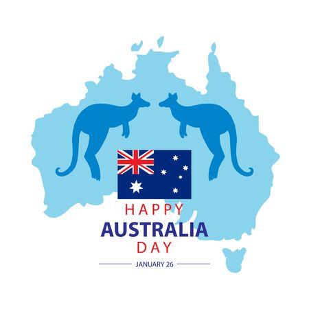 Australia Day. 26 January Happy Australia Day. Greeting card.