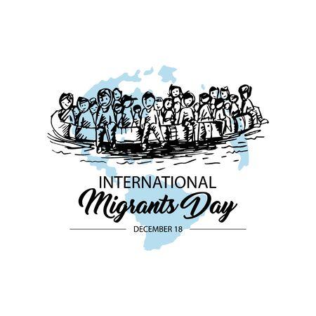 International immigration concept background. December 18 向量圖像