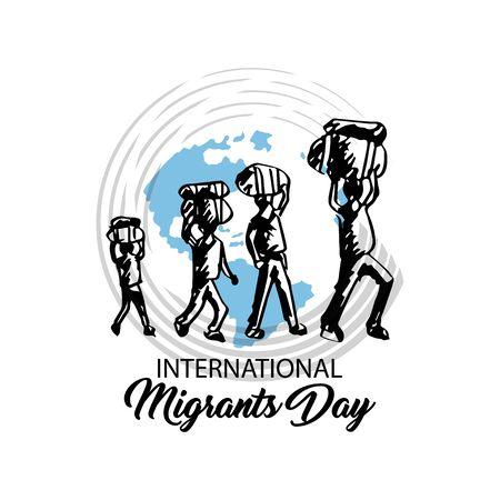 International immigration concept background. December 18 Illustration