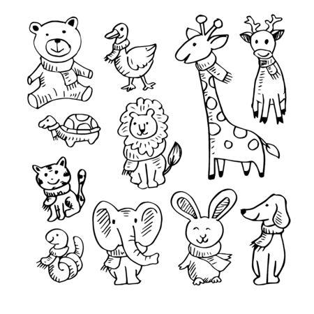 Set of cartoon animals wearing scarf