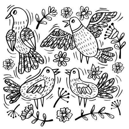 Set doodle of funny birds for your design Illustration
