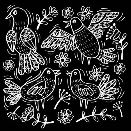 Set doodle of funny birds for your design 向量圖像