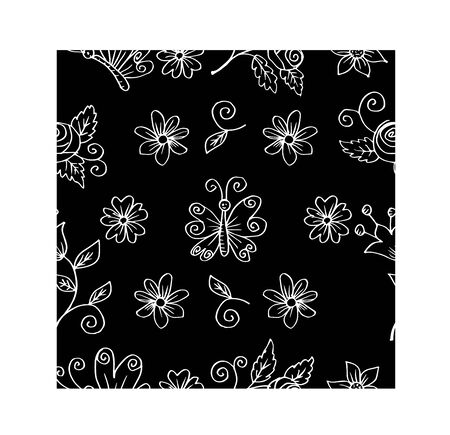 Seamless spring white floral pattern with butterflies and flowers