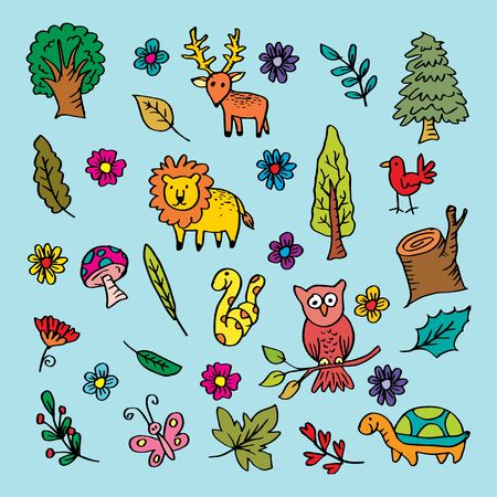 Cartoon forest animals Illusztráció