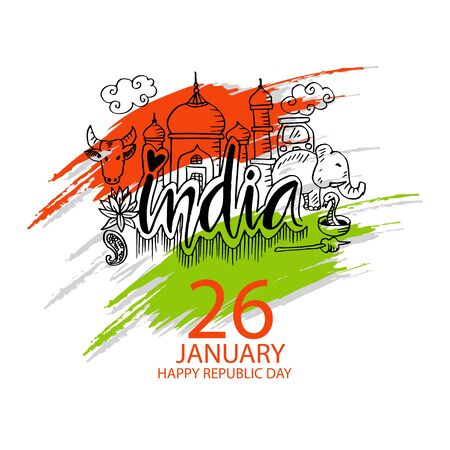 Republic Day of India banner. 26th of January 版權商用圖片 - 135965160