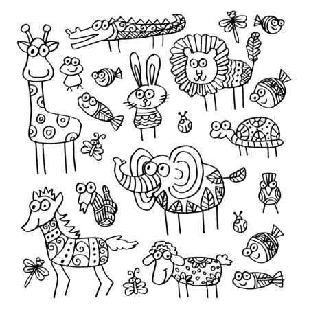 Cartoon animals illustration. Ornate style 版權商用圖片 - 136299000