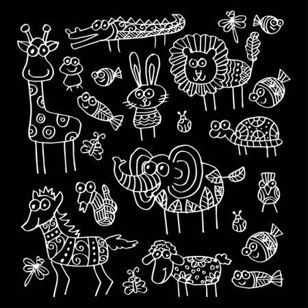 Cartoon animals illustration. Ornate style