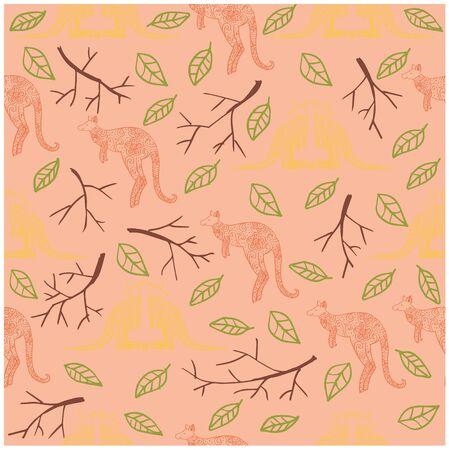 Kangaroo cartoon seamless pattern design