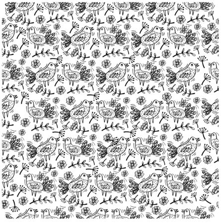 Seamless floral pattern with silhouettes birds on branches 向量圖像