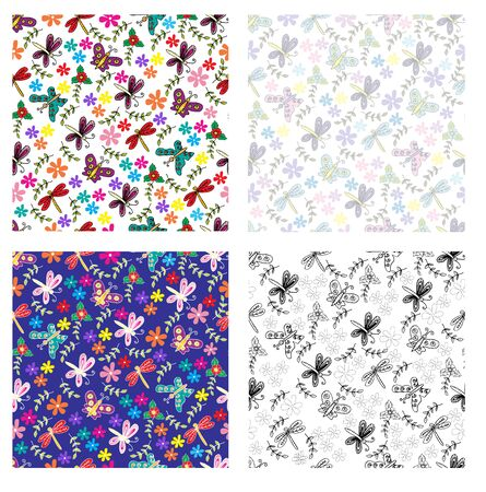 Spring butterflies, dragonfly and flowers seamless pattern.
