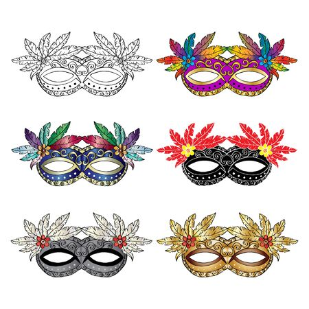 Carnival mask set on white background.
