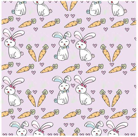 Cute rabbit seamless pattern. 向量圖像