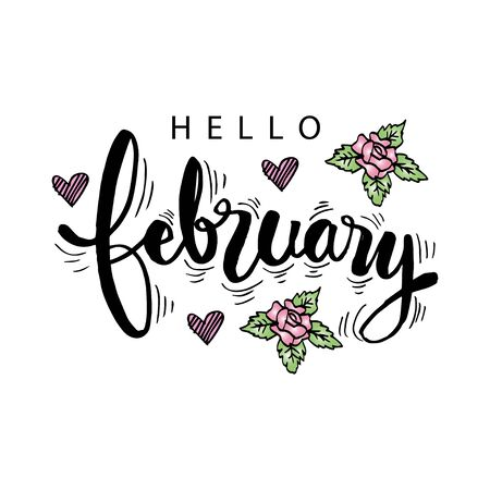 Hello February hand lettering. Greeting card.