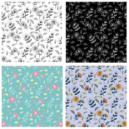 Set of Autumn Floral seamless pattern. 向量圖像