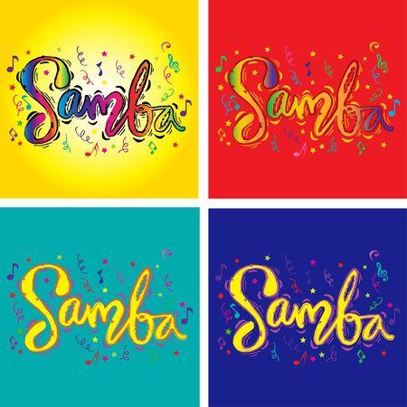 Samba hand lettering calligraphy. Poster design. 向量圖像