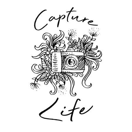 Capture life lettering with doodle camera. Shirt design.