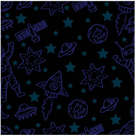 Hand drawn space elements seamless pattern.