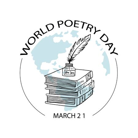 World Poetry Day, poster concept. March 21. Vecteurs