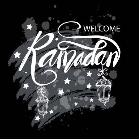 Welcome Ramadan lettering with lamp.