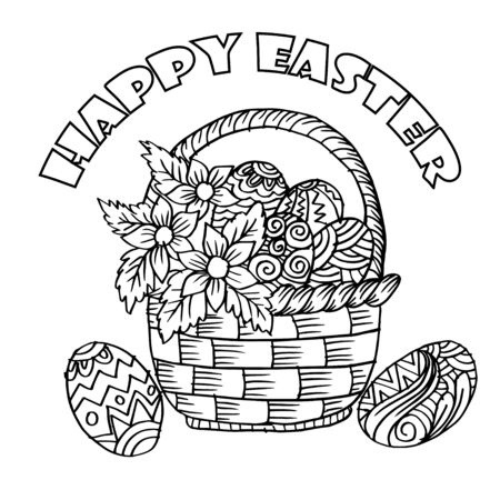 Happy Easter. Easter  basket with flowers and eggs.  Coloring book.