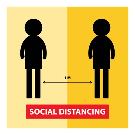 social distance concept. Keep the 1 meter distance.