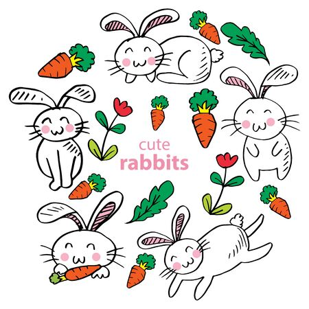 Rabbit set character in doodle style