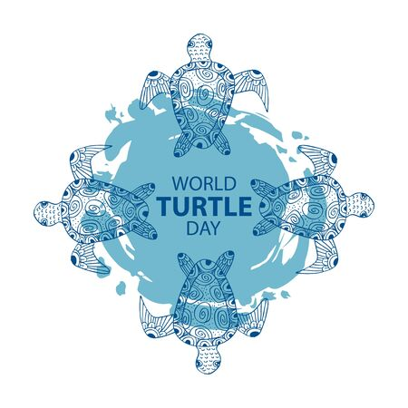 World Turtle Day, 23 May. Poster concept. Vettoriali