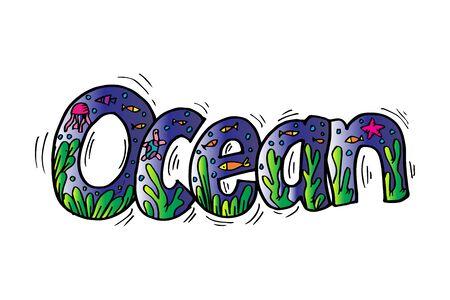 Ocean hand written calligraphy lettering