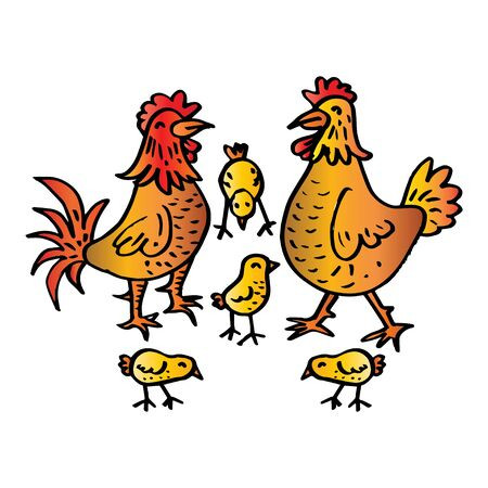 Cute cartoon chicken family isolated on white background  イラスト・ベクター素材