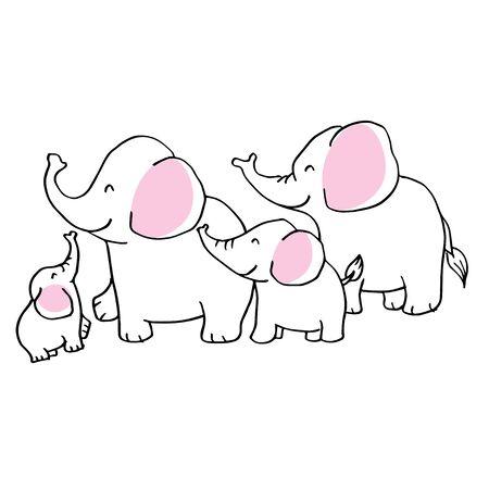 Cartoon elephant family on white background. Stockfoto - 147791822
