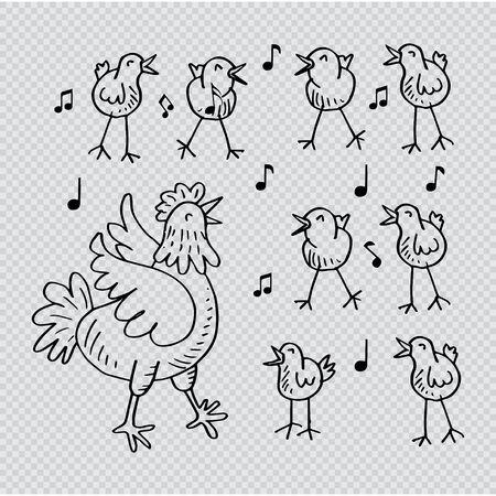 Poule et mignon petit poussin chantant.