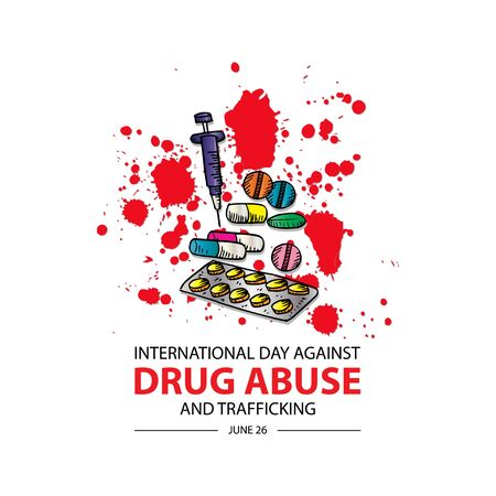 International Day Against Drug Abuse & Trafficking. 26 June. Vectores