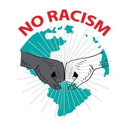 No to Racism. White and black skin Vectores
