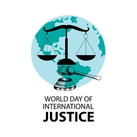 World day for international justice poster concept. Vektorové ilustrace